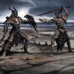 Combat entre deux guerriers Concept Art de Skyrim