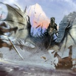 Un dragon de Skyrim en action Concept Art