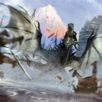 Un dragon de Skyrim en action Concept Art