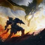 Combat avec un dragon Concept Art de Skyrim
