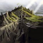 Des ruines dans un gouffre Concept Art de Skyrim